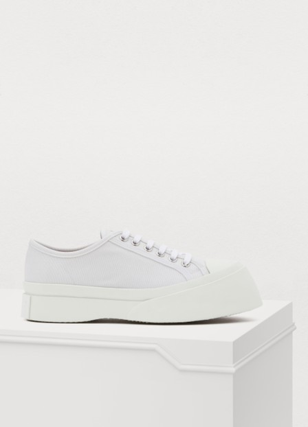 Marni Exaggerated-Sole Low-Top Canvas Trainers In Lily White