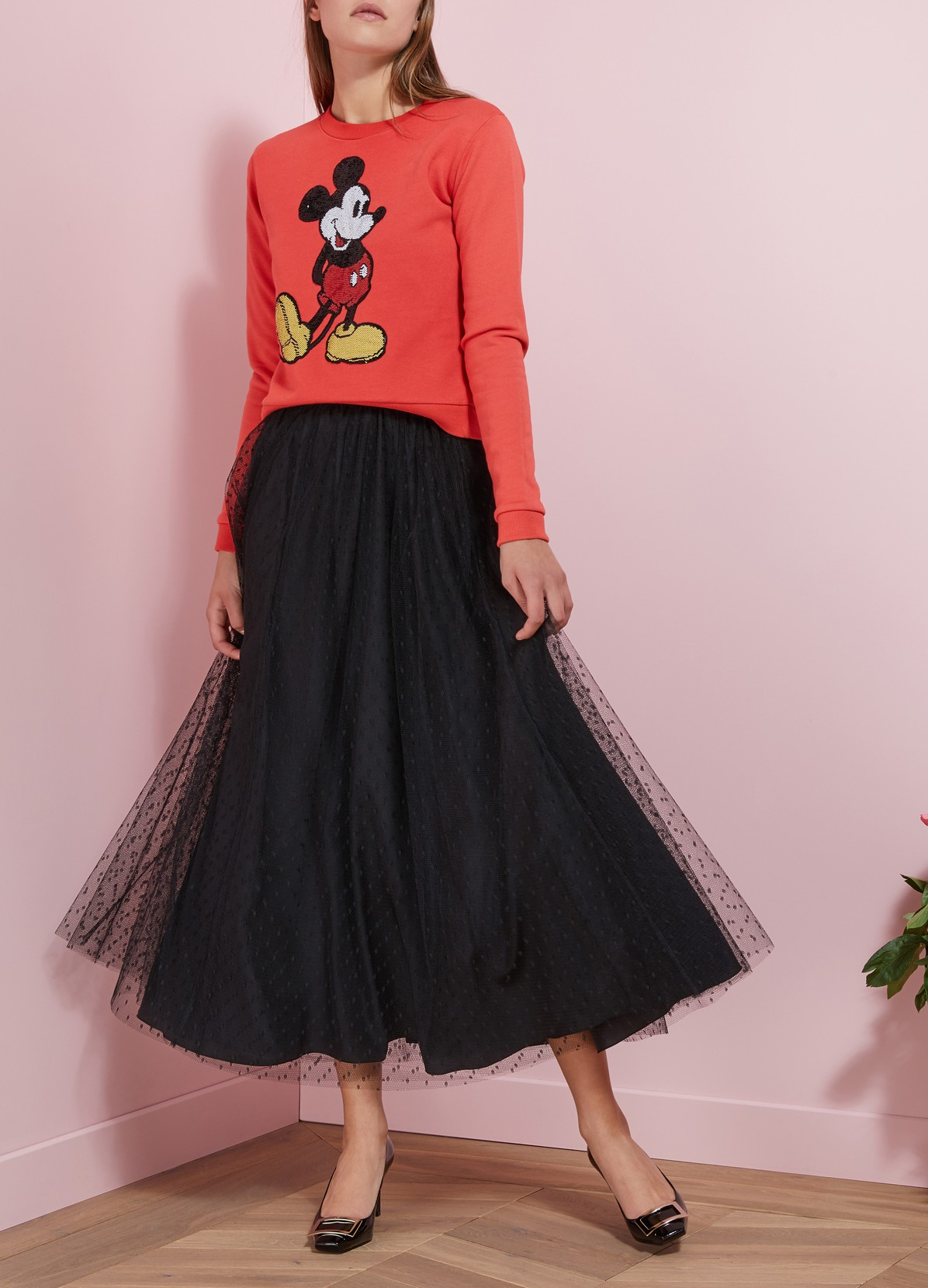 RED VALENTINO Polka Dot Tulle Skirt