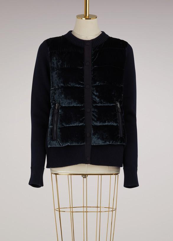MonclerKnitted and velvet bomber jacket