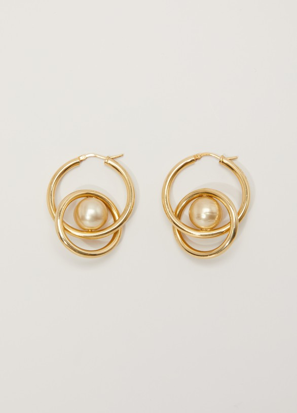 Celine Dot spiral hoop earrings made of glass beads and brass