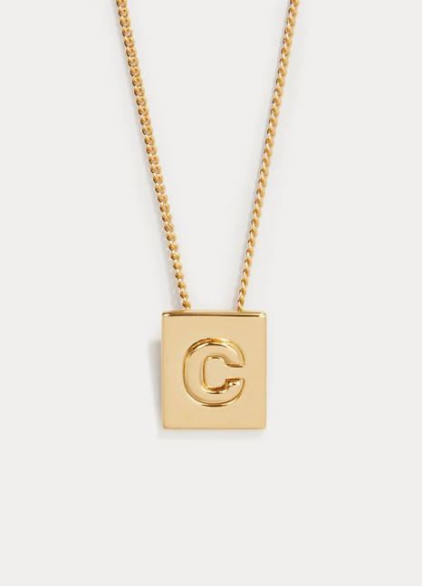 90fbe2f8aecd78 Women's Alphabet C necklace in brass with gold finish | Celine | 24 ...