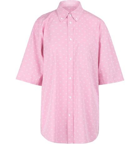 Balenciaga Bb Logo Print Oversize Cotton Poplin Shirt In 5621