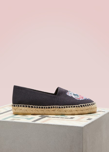 Kenzo Women's Special Tiger Embroidered Espadrille Flats In Black