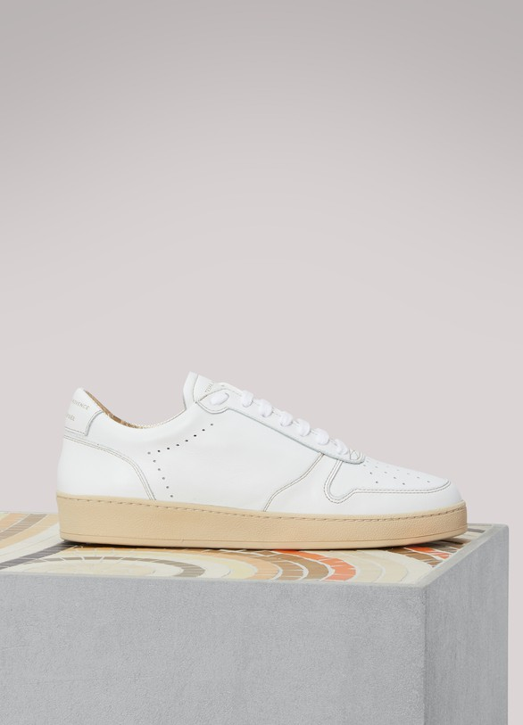 Zespa Leather gold-tongue sneakers