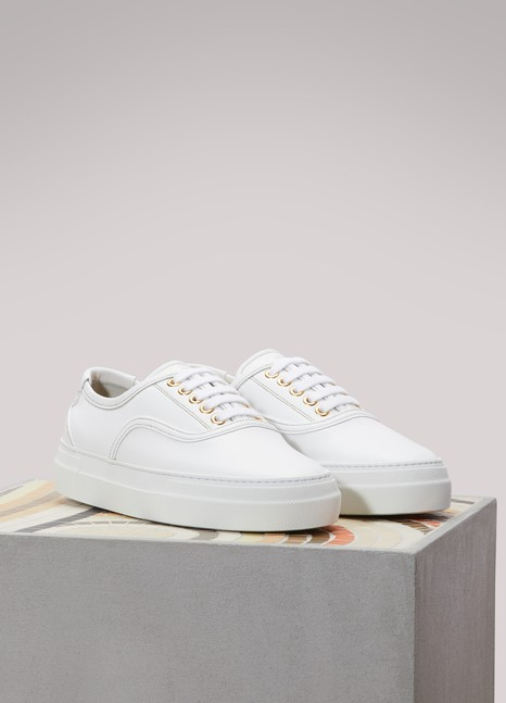 ZespaLeather gold-interior sneakers
