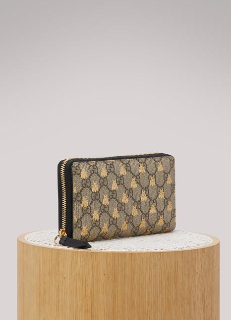 GucciGG Supreme bees zip around wallet