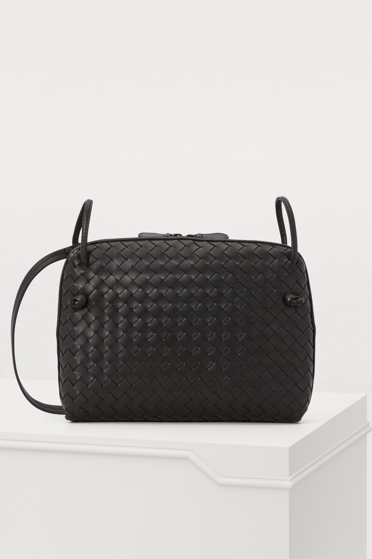 5203a40a33eb Bottega Veneta Nodini Intrecciato Leather Cross-Body Bag In Black ...