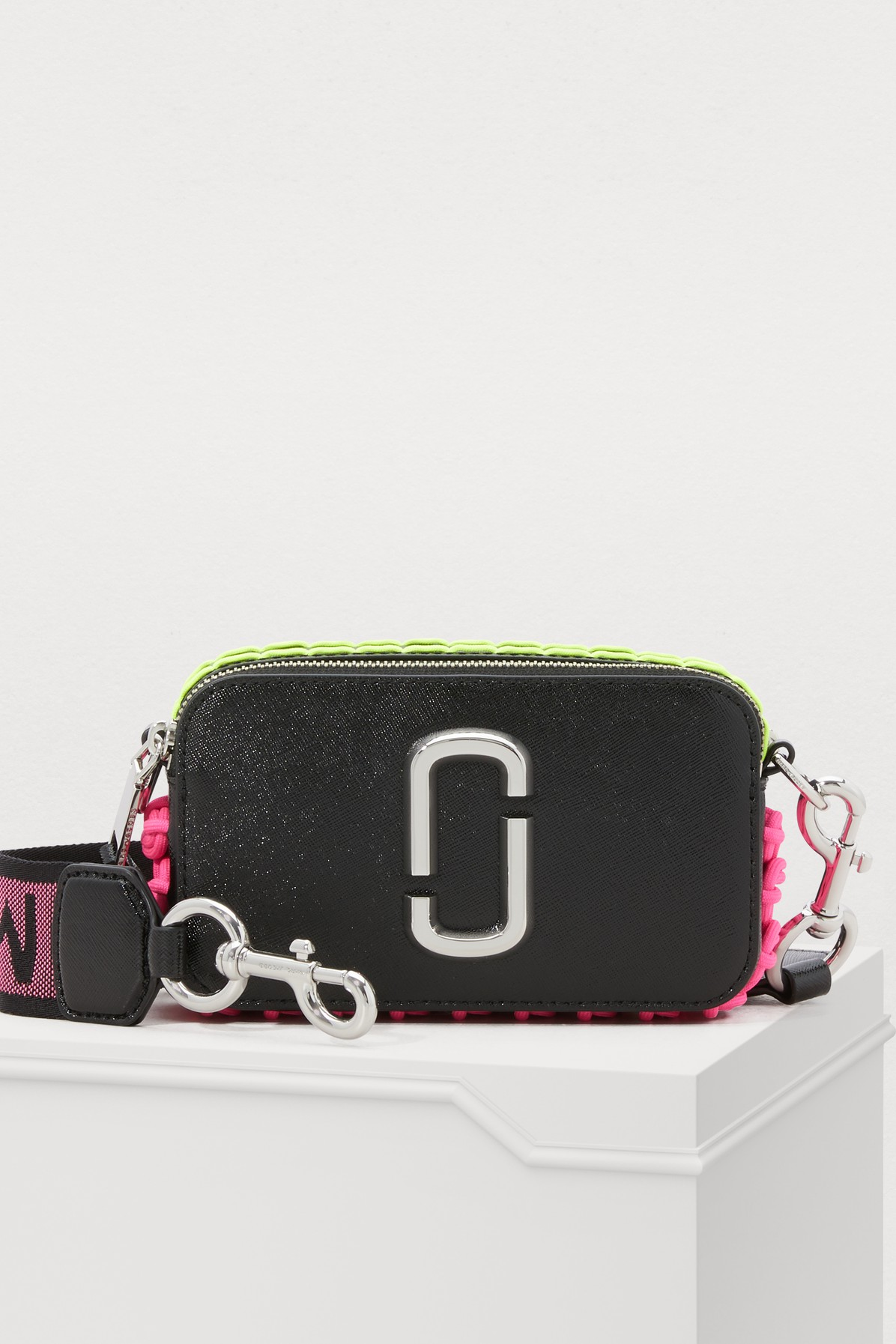Snapshot Whipstitch Leather Camera Bag Crossbody in Black/Silver
