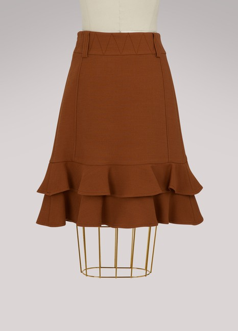 See by Chloé Wool ruffle skirt