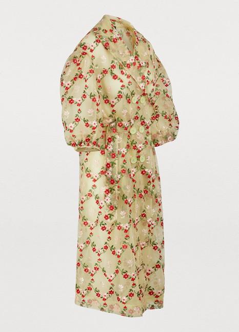 SIMONE ROCHAFloral print trench coat