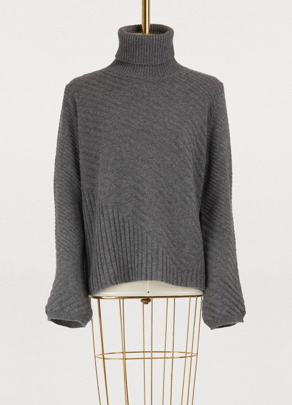 Roberto Collina Oversized turtleneck sweater with rotating seams