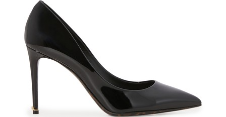 Dolce & Gabbana Patent Leather Pump With Leopard Sole In Black