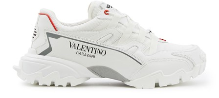 Valentino 'Climbers' Vlogo Mesh And Leather Sneakers In White