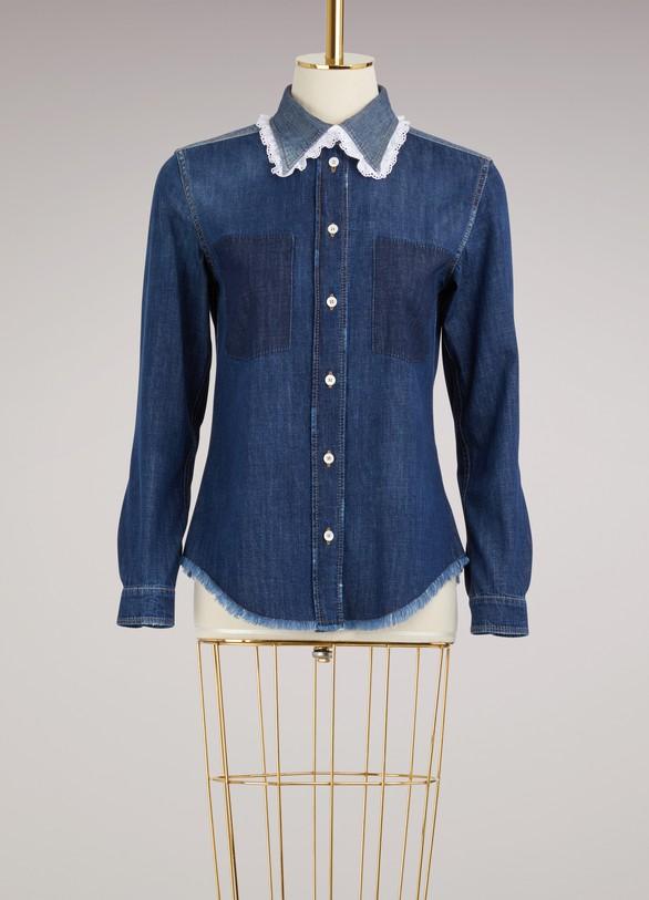 Miu MiuChemise en jean et détails Sangallo