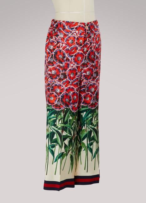 GucciPoppy garden silk pajama pant