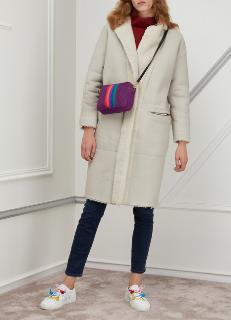Clare VLeather and sheep Midi crossbody bag