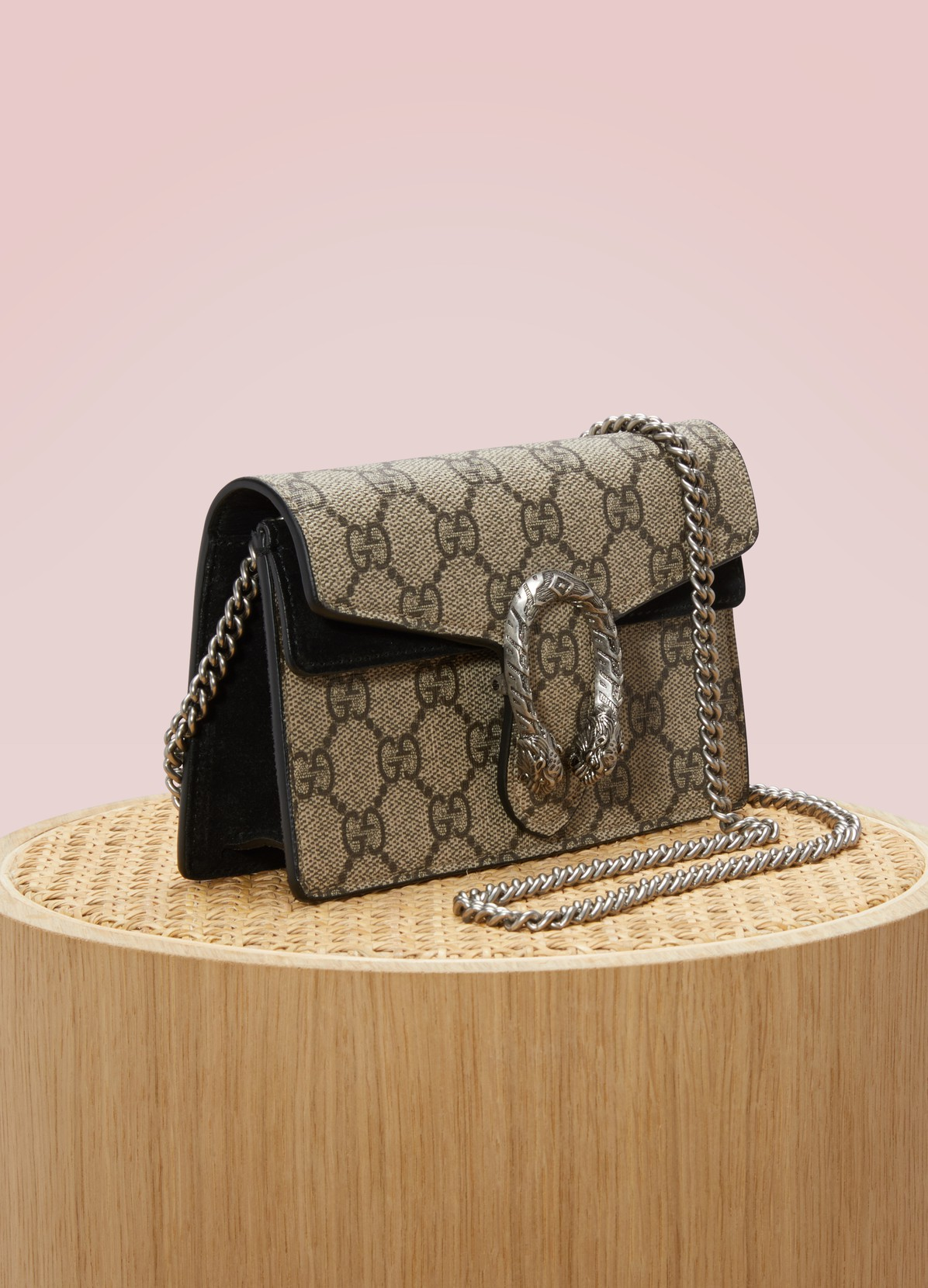 35052476b814 ... GUCCI Dionysus GG Supreme Mini coated canvas and suede shoulder ...