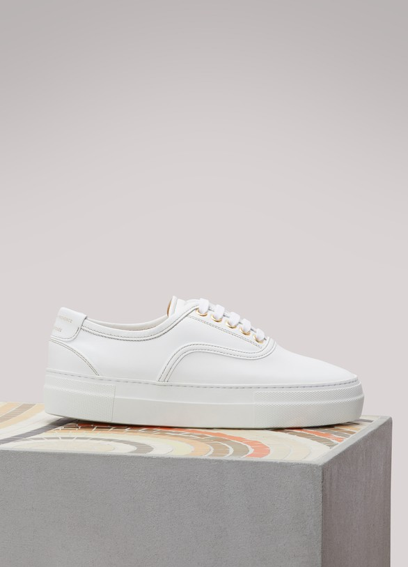 Zespa Leather gold-interior sneakers