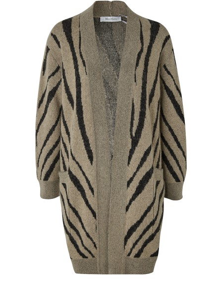Max Mara Zebra Print Mohair Blend Knit Cardigan In Neutrals