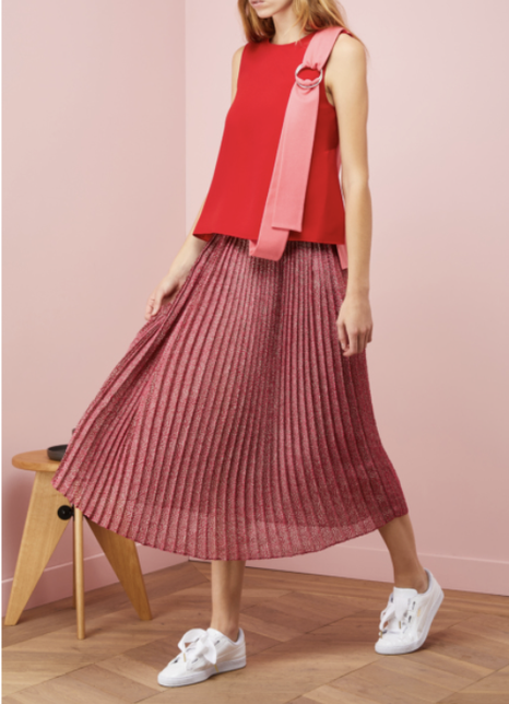 Gauchère Karrie pleated midi skirt