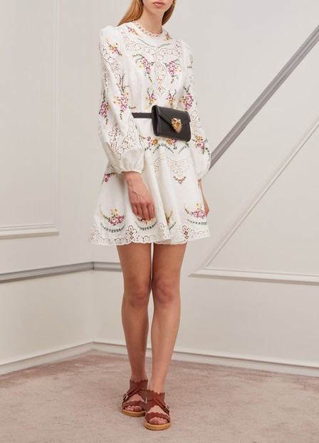 Zimmermann Allia Lace-Trimmed Embroidered Linen And Cotton-Blend Mini Dress In Ivory