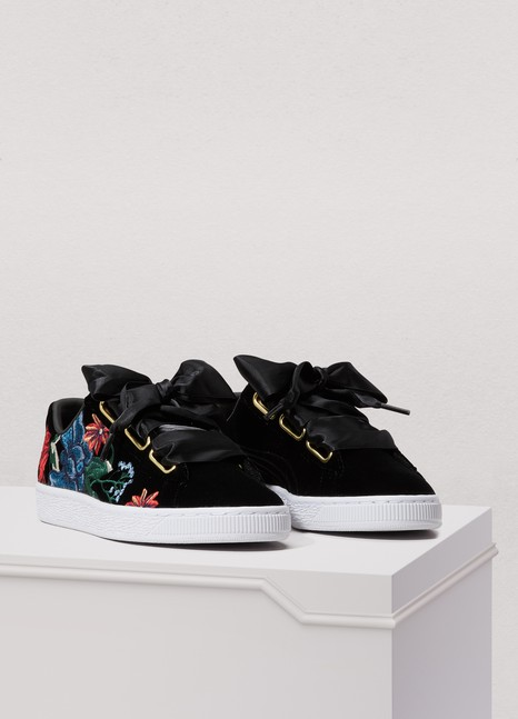 PumaHeart embroidered suede sneakers