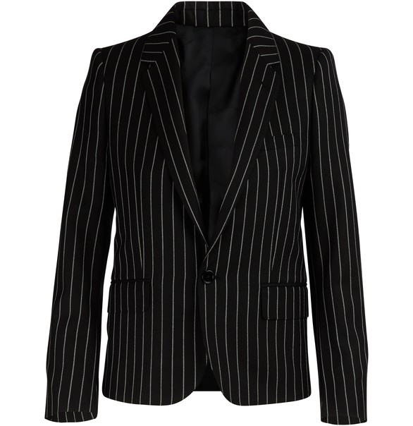 CELINECropped tennis-striped wool jacket