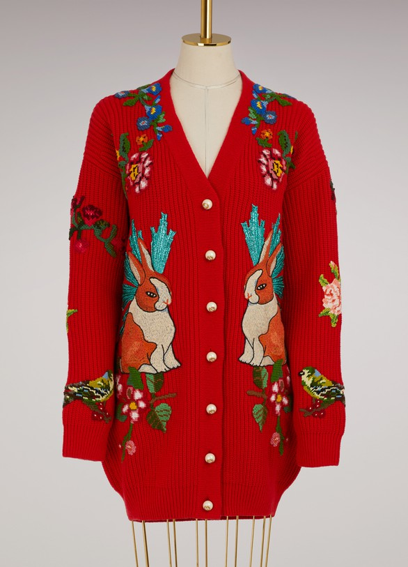 GucciCardigan oversize en laine avec broderies