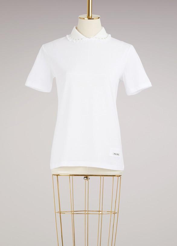 Miu MiuCotton T-Shirt With Sangallo Details