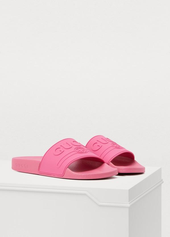 1f69d605dbe ... Gucci Pursuit Gucci print slippers ...