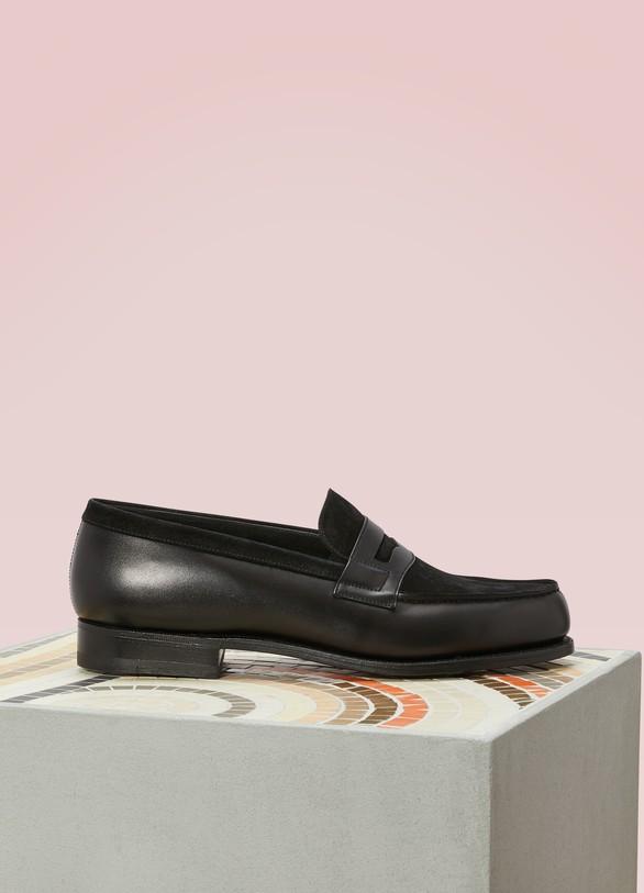 beau france pas cher vente Quantité limitée Dual Material Velvet and Box Leather Loafers