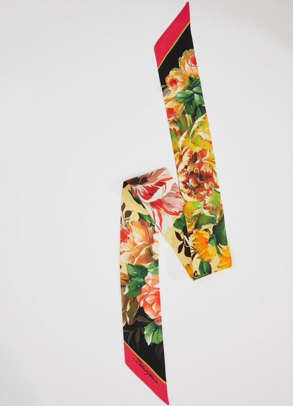 Dolce & GabbanaMix flowers silk bow scarf