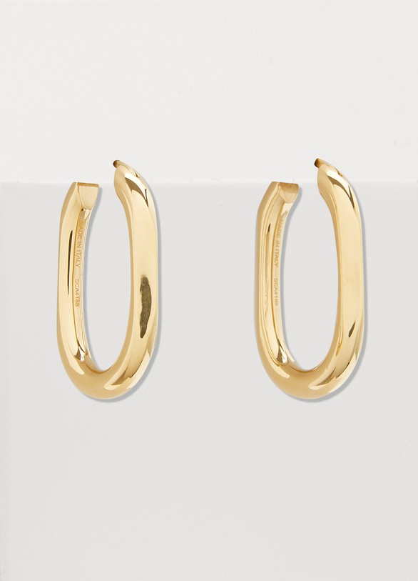 Celine Triomphe small chain hoop earrings in brass with vintage gold finish