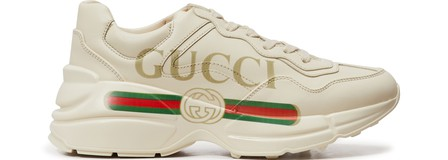 Gucci Low-Top Sneakers Rhyton  Calfskin Logo  Creamy White In 9522 Ivoire