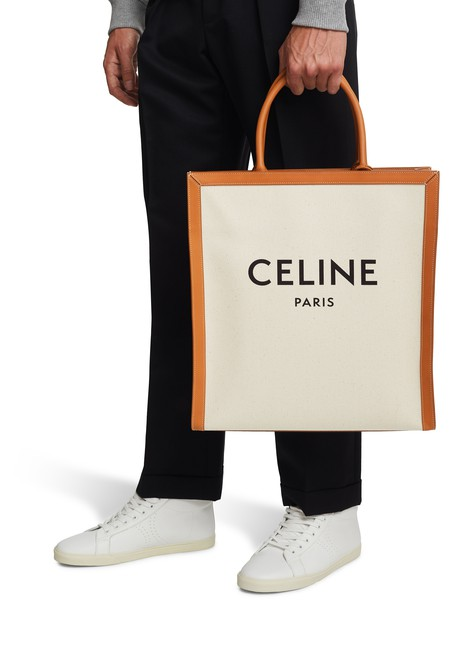 CELINECeline vertical calfskin and canvas tote bag