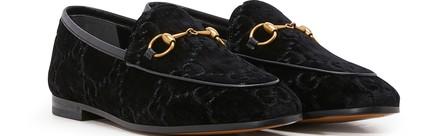 Gucci Jordaan Horsebit-Detailed Leather-Trimmed Logo-Jacquard Loafers In Black