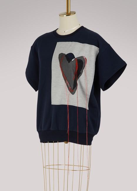 Maison MargielaT-shirt à motif cœur brodé