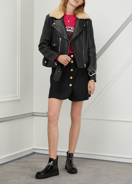ACNE STUDIOS Leather biker jacket with fur collar