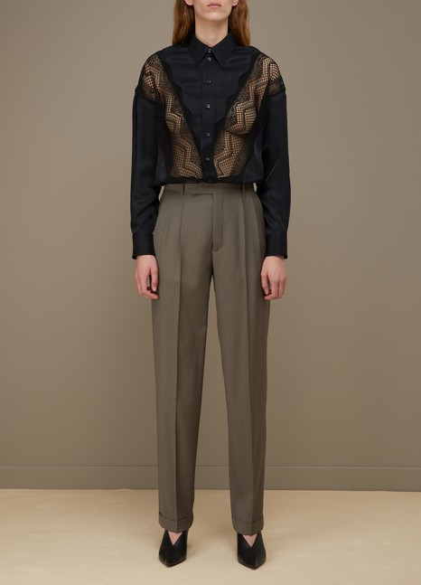 CélineTwill shirt with lace details