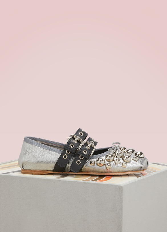 Miu Miu Studded Leather Ballet Pumps