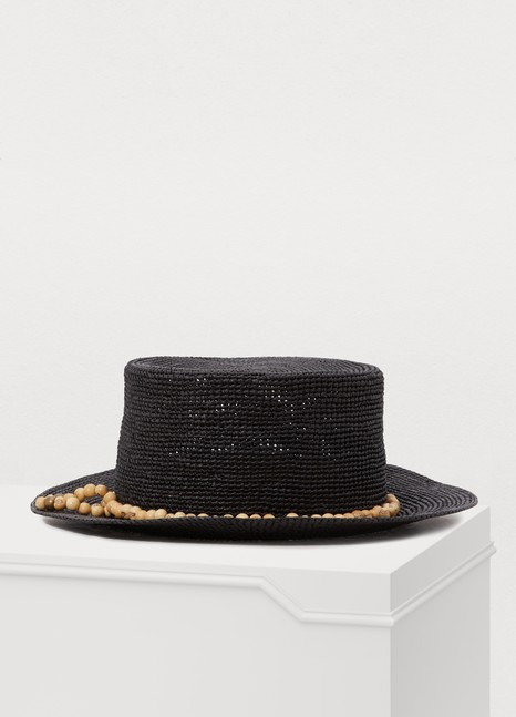 SENSI STUDIO Straw hat with pearls