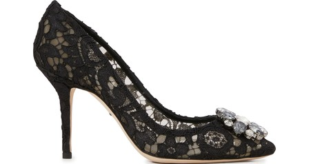 Dolce & Gabbana DÉColletÉ In Taormina Lace With Crystals In Black