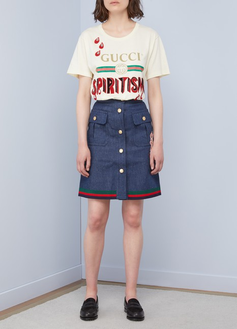 Gucci Rabbit denim skirt