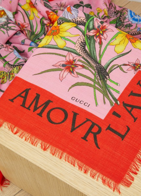GucciFlora Snake Print Wool Silk Shawl