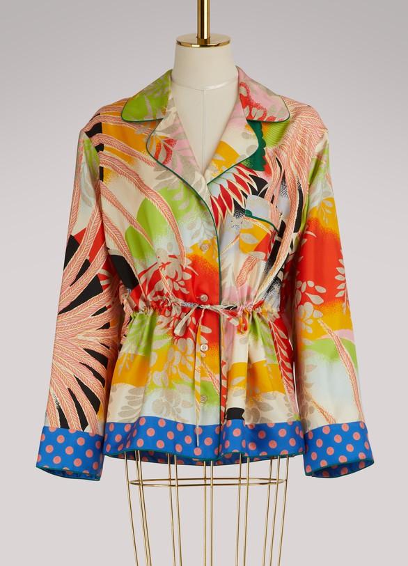 GucciTropical bird silk pajama shirt