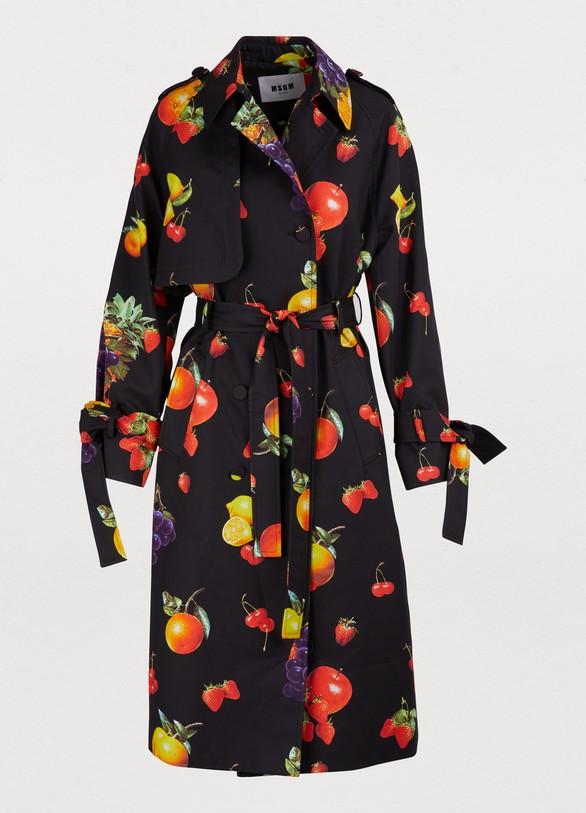 MSGMFruit print trench coat