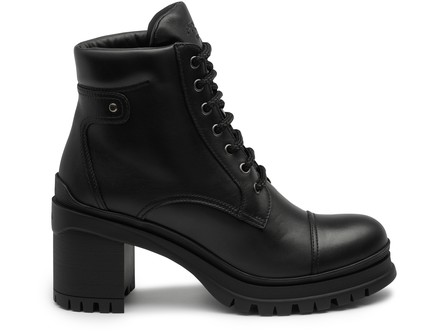 Prada Lace-Up Chunky Heel Ankle Boots In Black