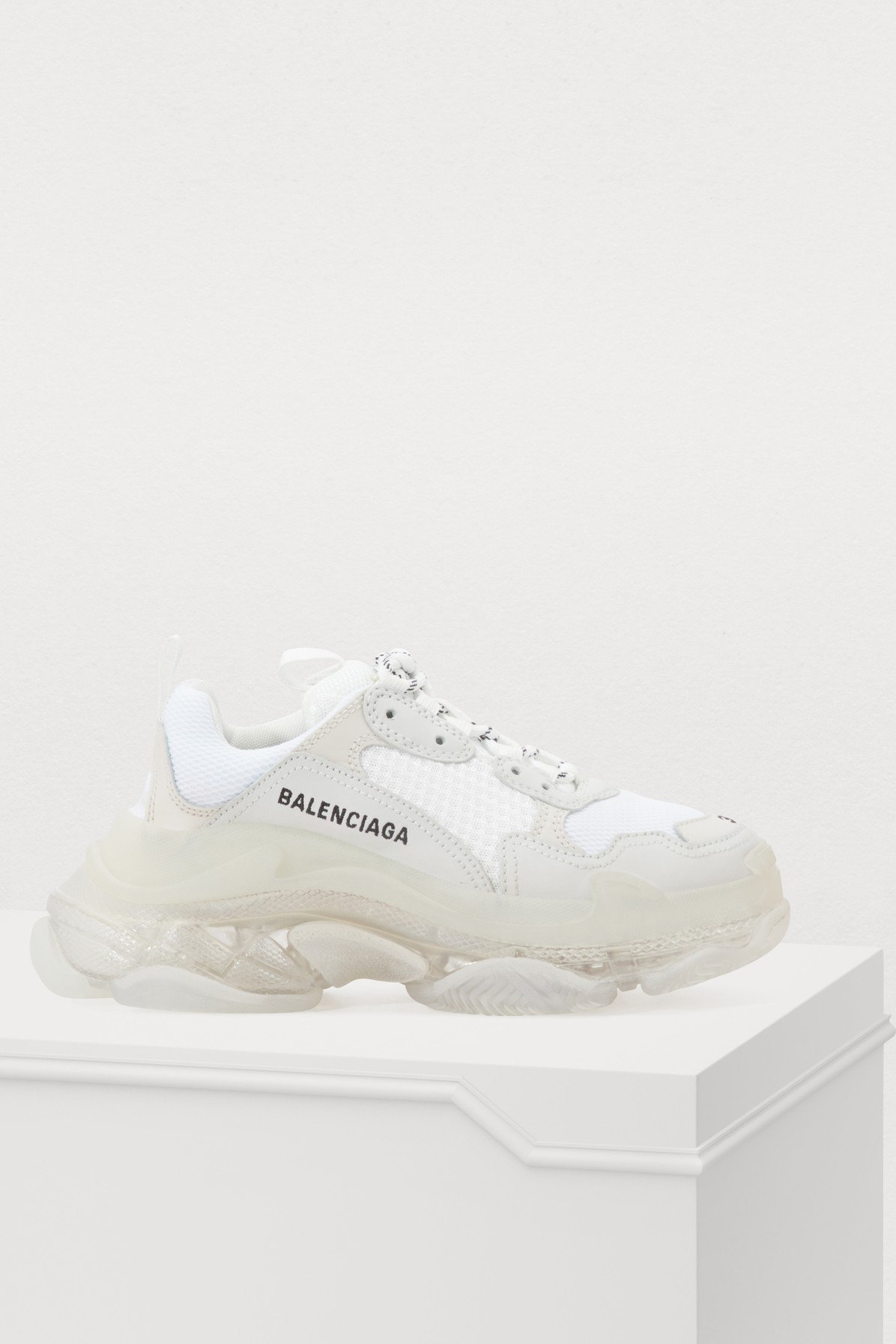 Womens Triple S Bubble Leather And Mesh Trainers in 9000