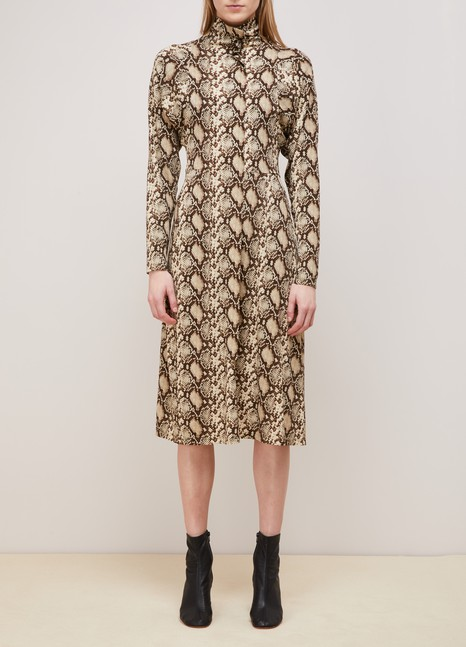 Celine Mock neck dress in snake printed crepe jersey