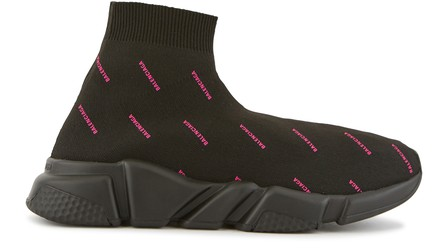 Balenciaga Speed Logo-Print Stretch-Knit High-Top Sneakers In 1045